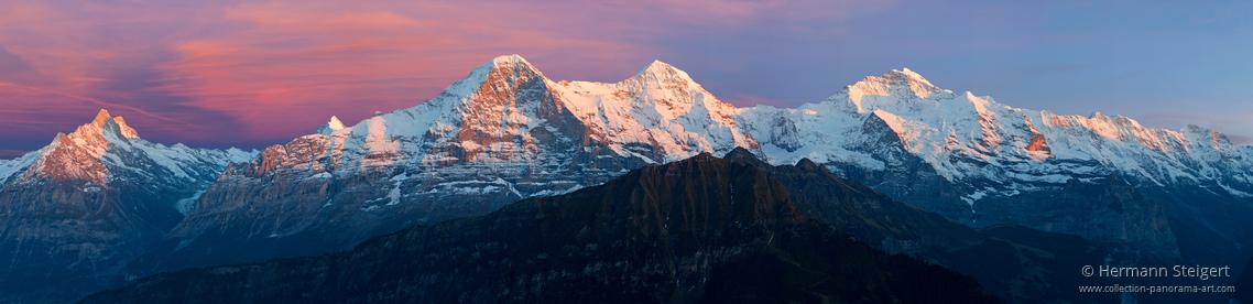 Blick von der Schynigge Platte auf Eiger, Mönch und Jungfrau