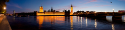 View of the Houses of Parliament and Westminster Bridge in the evening